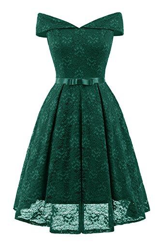 KAXIDY Elegant Cocktailkleid Spitzenkleid Partykleider Kleider Abendkleid Rockabilly Kleider (Grün, Large)
