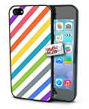 Diagonal Rainbow Pastel White Stripes Black Plastic Cover Case for iPhone 4 or 4s