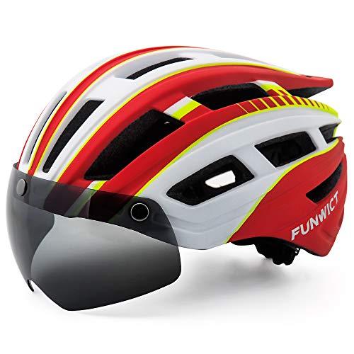 Funwict, casco da bicicletta per adulti e donne, con luce a LED, rimovibile, magnetico, visiera per mountain bike e strada, casco traspirante e leggero (rossobianco)