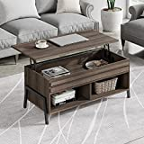 WAMPAT Coffee Table, Lift Top Mid-Century Coffee Table with and Open Storage Shelf and Hidden Compartment, Retro Central Table with Wooden Lift Tabletop, for Living Room,Brown