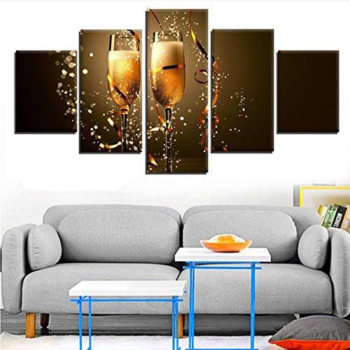 Meaosy Canvas Wall Art Foto's Home Decor 5 Stuks Cheers to The New Year Schilderijen Hd Prints Kerstmis Champagne Posters 10x15/20/25cm