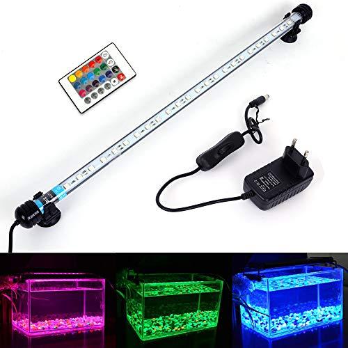 MLJ Aquarium LED Beleuchtung für Fisch Tank Wasserdicht Drachenfisch Licht Weiß & Blau/RGB,8 Größen (48 cm, RGB)