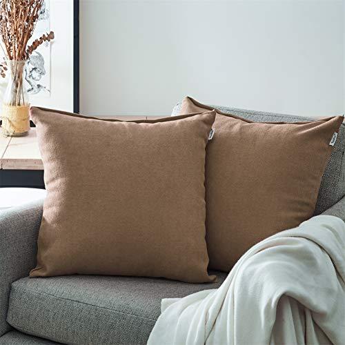 Topfinel Juego 2 Fundas Cojines Sofas de Algodón Lino Chenilla Duradero Almohadas Decorativa de Color sólido para Sala de Estar, sofás, Camas, sillas 60x60cm de Color café