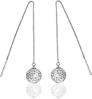 YAZILIND Drop Dangle Earrings Silver Crystal Ball Vintage Boho Women Long Chain Ear Line Retro Sparkling Statement Elegant Jewelry