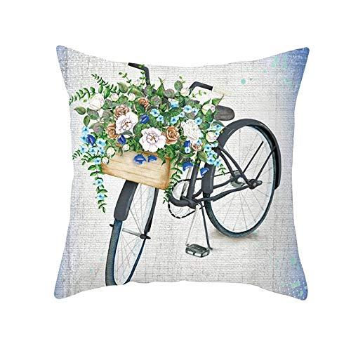 Funda de Cojín Decorativos Funda de Almohada Flor de bicicleta Cuadrado Terciopelo Suave Cojines Decor con Cremallera Invisible para Sofá Cama Decor Hogar Funda de Cojín M448 Pillowcase+core,40x40cm