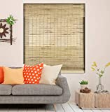 Calyx Interiors Petite Rustic Roman Window Shades Cordless Bamboo Blind, 20-Inch Width X 60-Inch Height