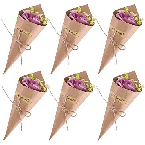 50pcs Cono Arroz Boda Retro Papel Kraft Ramo de Bolsas de Caramelo de Chocolate Cajas de Boda Cuerda (50pcs)