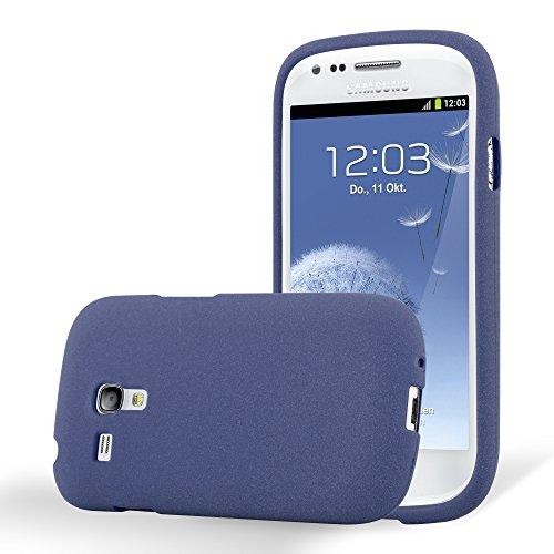 Cadorabo Hülle für Samsung Galaxy S3 Mini - Hülle in Frost DUNKEL BLAU – Handyhülle aus TPU Silikon im matten Frosted Design - Silikonhülle Schutzhülle Ultra Slim Soft Back Cover Case Bumper