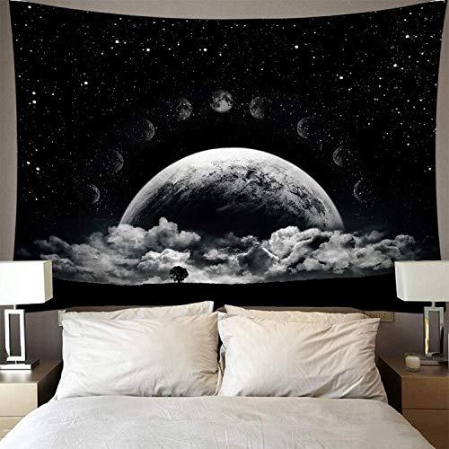 Mágico cielo nocturno tapiz luna fondo pared que cubre hermosa pared nórdica colgante dormitorio decoración tapiz A6 180x200cm