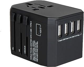 海外 変換プラグ 旅行充電器 - Ridpix 2000W/8A 海外 ACアダプター USB充電器 4つusbポート Type Cポート付き コンセント A・O・BF・Cタイプ 急速充電 変換アダプター マルチ電源プラグ 世界150ヶ以上の国に対応 出張便利 持ち運びやすい(ブラック)