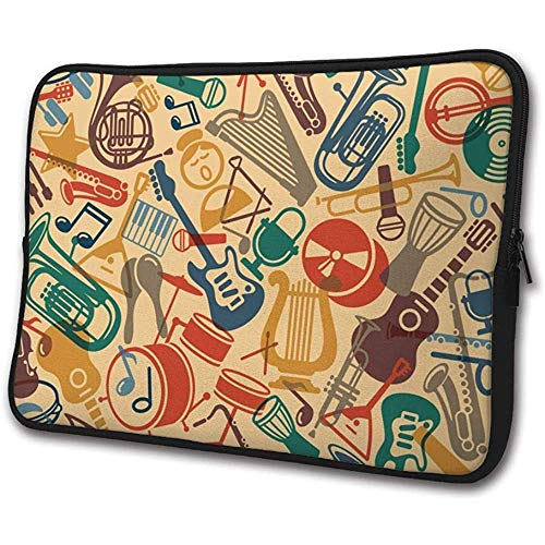 Laptophoes Fall muziekinstrumenten trommel gitaar notebook computer cover tas compatibele tablet aktentas M(15 Inch) 2604