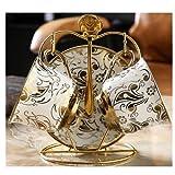 WYGOAKG Juego de 2 tazas de café de cerámica para té, porcelana europea, porcelana de hueso, para decoración del hogar,...