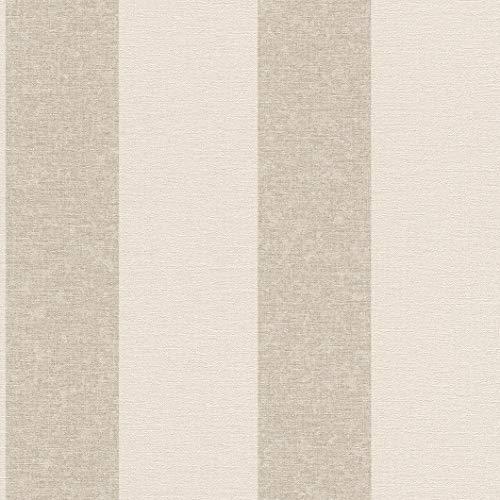 rasch Tapete 449624 aus der Kollektion Florentine II – Vliestapete in Beige mit Braunen Streifen – 10,05m x 53cm (L x B)