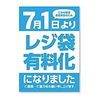 レジ袋 有料化ポスター レジ袋有料化告知 A3(420mm×297mm) ユポ紙 屋外 2枚入り(カラー:青、タイプ:告知ポスター)