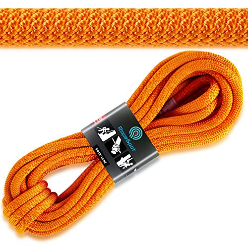 Powerful UIAA Static Rock Climbing Rope - High Strength Static Climbing Rope - Rock Mountaineering Climbing Gear - 10.5mm Rescue Rope - Heavy Duty Rope (Orange, 64)
