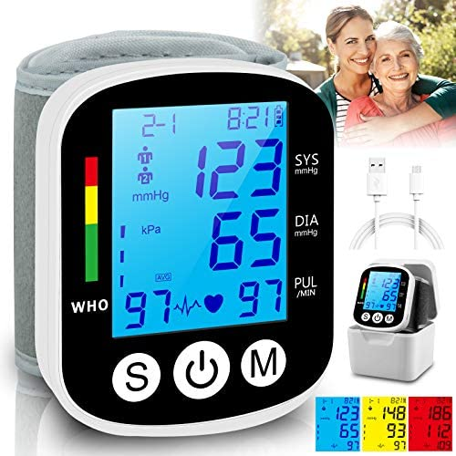 Topffy Blood Pressure Monitor Wrist BP Cuff Rechargeable Automatic BP Machine Tri Backlit Digital product image