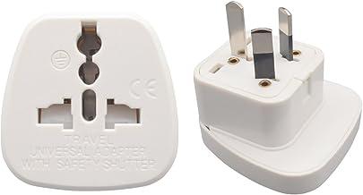INIBUD Pack of 2 UK EU US to AU Australia NZ Travel Adapter White Plug
