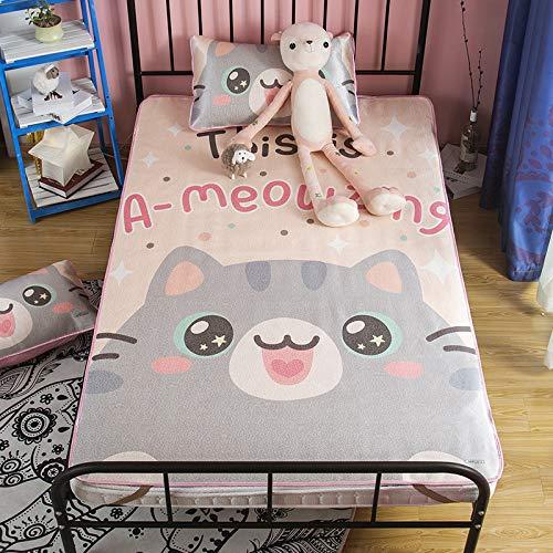 Hllhpc Cartoon kat hoofd Tencel airconditioning zachte zitting driedelige mat 1.5m1.8 wasbaar ijs zijde mat 2019 nieuw