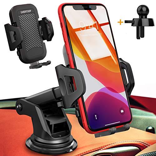 UVERTOOP Support Telephone Voiture, 3en1 Porte Téléphone Voiture Portable Support Ventouse Support Smartphone Voiture pour Tableau de Bord et Pare-Brise pour iPhone 12 11 Pro Xs Max 8 7 Galaxy S10 GPS