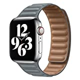 GZMYDF Enlace de Cuero para la Banda de Reloj de Apple 44mm 40mm 38mm 42mm Watch Band Band Magnetic Loop Pulsera para iWatch Seires 5 4 SE 6 Correa (Band Color : Gray, Band Width : 42mm or 44mm)