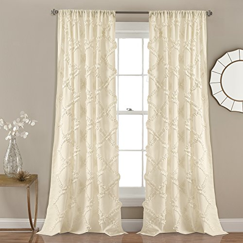 """Lush Decor, Ivory Ruffle Diamond Curtains Textured Window Panel Set for Living, Dining Room, Bedroom (Pair), 84"""" x 54, 84"""" x 54"""", 2 Count"""