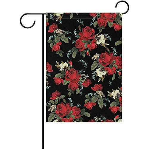 hdgfjhdfjdf Vintage Floral Red Roses Flowers Garden Yard Flag Banner for Outside...