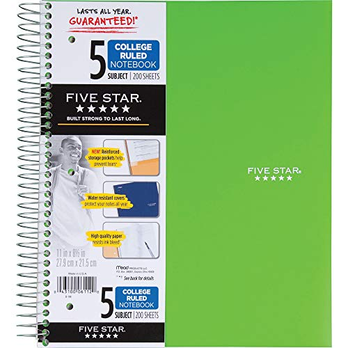 """Five Star Spiral Notebook, 5 Subject, College Ruled Paper, 200 Sheets, 11"""" x 8-1/2"""", Color Selected For You, 1 Count (06112)"""