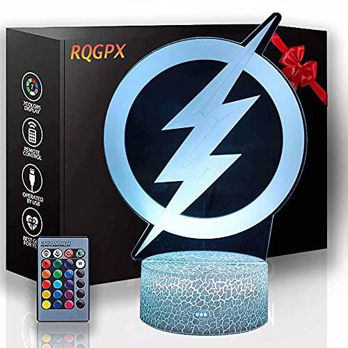 Lámpara de ilusión 3D The Flash Sleeplite Night Light para niños 16 colores cambiantes luz nocturna con control remoto, regalo de cumpleaños para niños