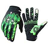 Cycling Gloves for Men Women, Bike Gloves with Shock-Absorbing Gel Pad, Anti-Slip & Touchscreen, Motorcycles Riding, MTB, Road Bike Skeleton Bones Gloves (New White, XL(Palm Width 3.94''-4.21''))