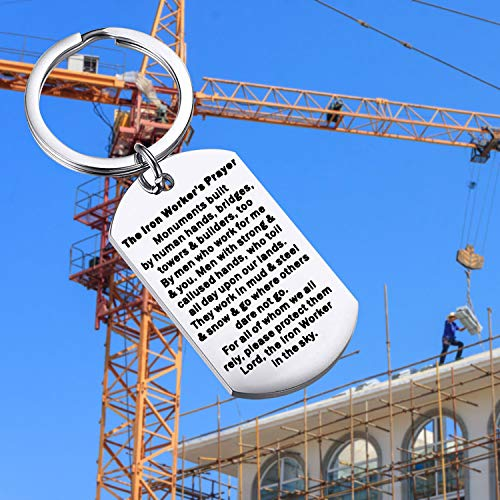 bobauna Iron Worker's Prayer Dog Tag Keychain Monuments Built by Human Hands Bridges Towers and Builders Too by Men Who Work for Me and You Construction Worker Gift (Iron Worker's Prayer Keychain)