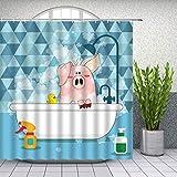 Cartoon Tier Duschvorhänge Lustiges Schwein Baden Niedliche Kinder Badezimmer Dekor Wasserdichtes Polyester Home Bad Stoff Vorhang 180 × 180Cm