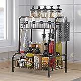 RETMI® Expositor negro para especias/vajilla, secador de vajilla y especiero para la organización de la cocina, 2 niveles con soporte para cubiertos para el mostrador de la cocina con