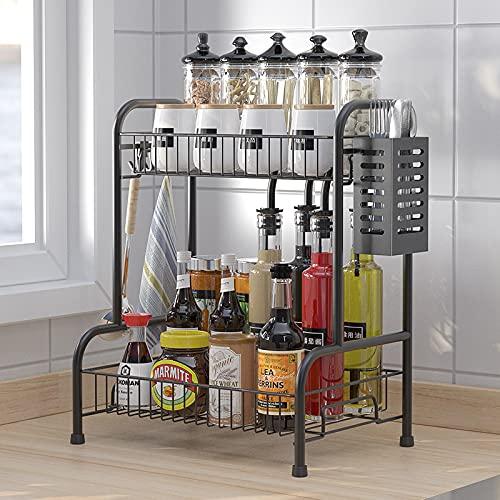 RETMI® Expositor negro para especias/vajilla, secador de vajilla y especiero para la organización de la cocina, 2 niveles con soporte para cubiertos para el mostrador de la cocina con 🔥