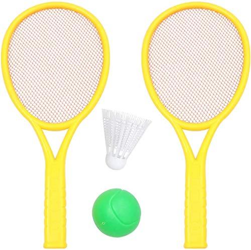 4 stücke Kinder Tennisschläger Set mit Ball Lastic Tennis Schläger Spielzeug für Outdoor Sports Summer Beach Rasen Spiel Spiel (Große Größe, 2 Stück Bälle, 2 stücke Schläger, Zufällige Farbe) badminto