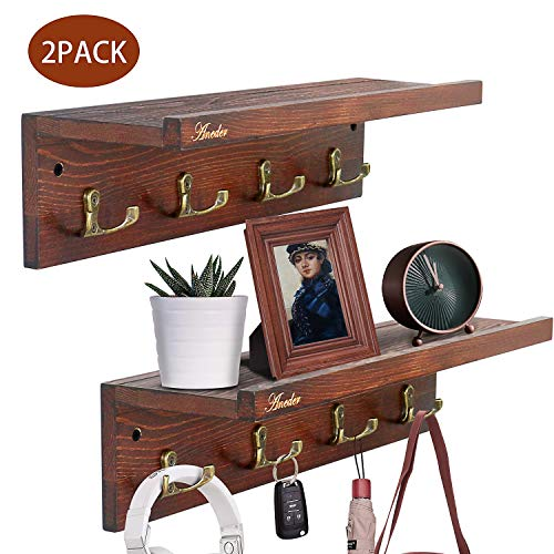 Two Floating Wood Shelves W/ Hooks $13.19 (40% OFF Coupon)