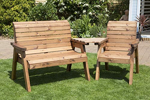 Home Gift Garden 3 Seater Companion Seats - Love Seat - Tete a Tete Seats - Solid Wood Outdoor Patio Decking Furniture