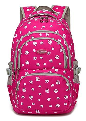 Pawprint Mädchen Schulrucksäcke für Kinder Grundschulranzen Büchertaschen (Rose Red 2)