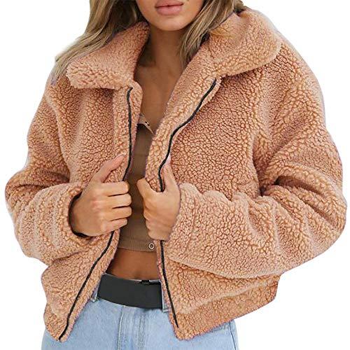 Auifor dames dames warme kunstwollen jas rits jas winter parka bovenkleding