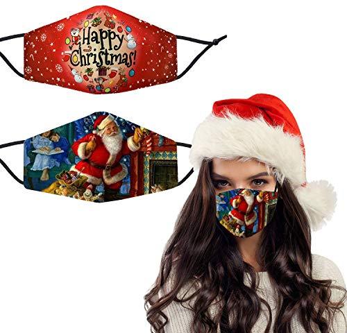 Washable Breathable Cloth Face Cover Decorations, Funny Reusable Cotton Fabric Christmas Mask for Women Men (D-2Pcs)