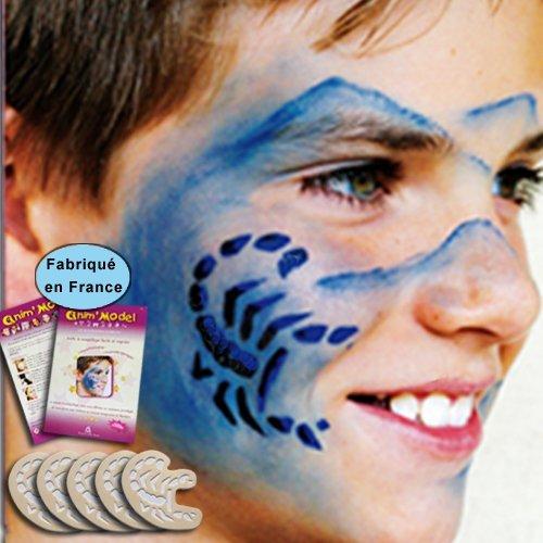 Pochoirs maquillage enfant, lot de 5 motifs Scorpion