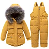 WESIDOM Baby Boys Girls Snowsuit,Toddler Winter Outfit Sets Kids Hooded Artificial Fur Down Jacket Coat and Ski Bib Pants Yellow