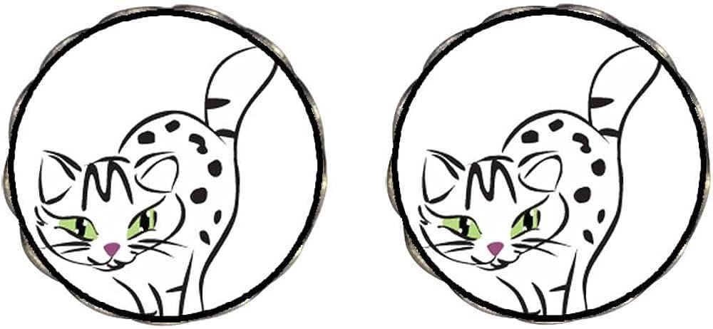 GiftJewelryShop Bronze Retro Style Egyptian Mau Cat Photo Clip On Earrings Flower Earrings 12mm Diameter