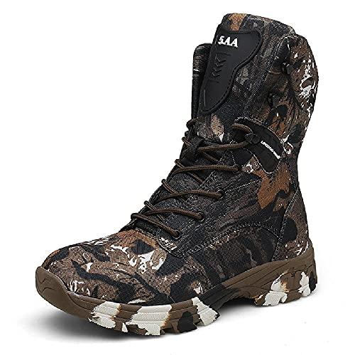LANTUI Tactical Military Soldier Boots Für Herren wasserdichte Camo Trekking Hunting Climbing Boots rutschfeste Taktische Outdoor-Stiefel,Brown-40