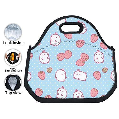 OUBAFun-Keep Neoprene Lunch Bag Cute Mo-Lang Tote Handbag Lunchbox for School Work Office