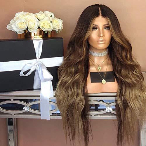 Peluca larga y rizada, peluca de pelo sinttico marrn para mujeres, pelucas de repuesto para todos los das, disfraz de Cosplay, fiesta de Halloween, Navidad, 28 pulgadas