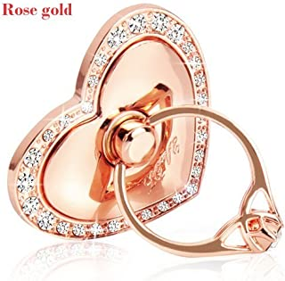Phone Stand, Luxury Updated Re-Usable Metal Stainless Phone & Tablet Anti Drop Ring Stand Holder with Diamonds for iPhone iPod iPad Samsung and More (Heart Shape) (Rosegold)