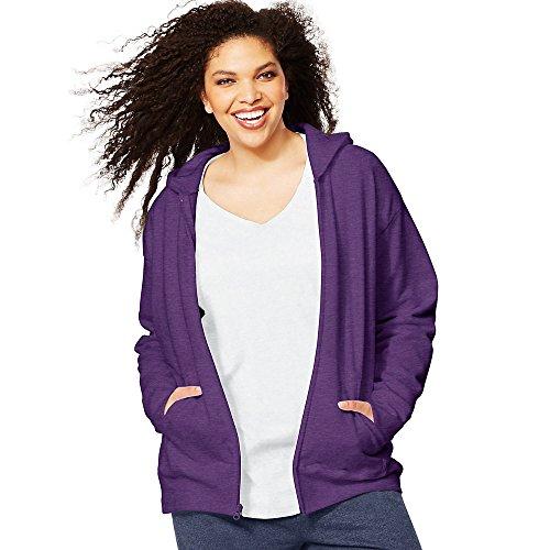 Just My Size Women's Plus-Size EcoSmart Full-Zip Hoodie, Violet Splendor Heather, 4XL
