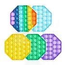 Pop Fidget Toy, 5PCS Push Pop Bubble Fidget Sensory Toy Autism Special Needs Stress Reliever Toy Pure Compression Silicone for Kids Adults - (Octagonal Shape)