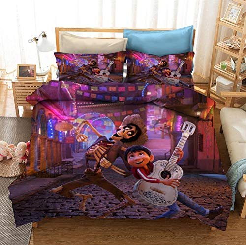 Enhome 3D Bedding Set - Printed Quilt Cover with Zipper Closure + Pillowcases, Microfiber Duvet Cover Set Easy Care for Children Teen Adult Single Double King Bed (Coco 4,135x200cm)