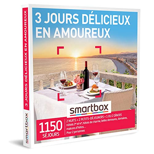 SMARTBOX - Coffret Cadeau Couple - Idée cadeau original : Séjour de 3 jours romantique et gastronomique pour un moment à deux inoubliable